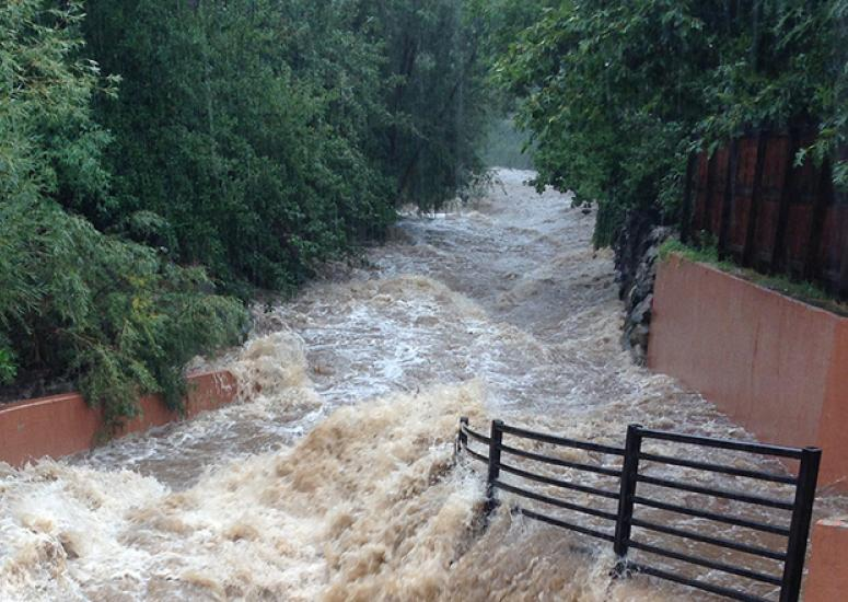 Flash flooding on Boulder's Bear Creek during record rainfall, 9/12/13
