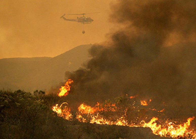 Pollution, fires, warming west: A fire burns on Camp Pendleton, California