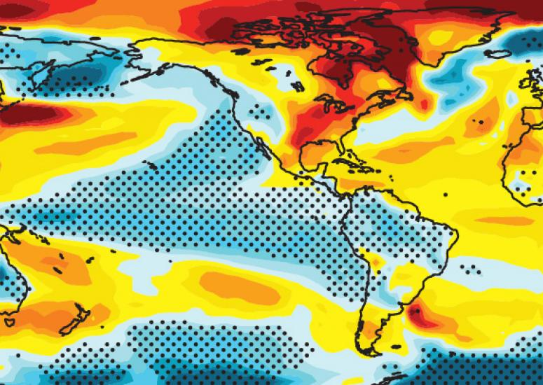 Decadal prediction: Map showing trends in sea surface temperature