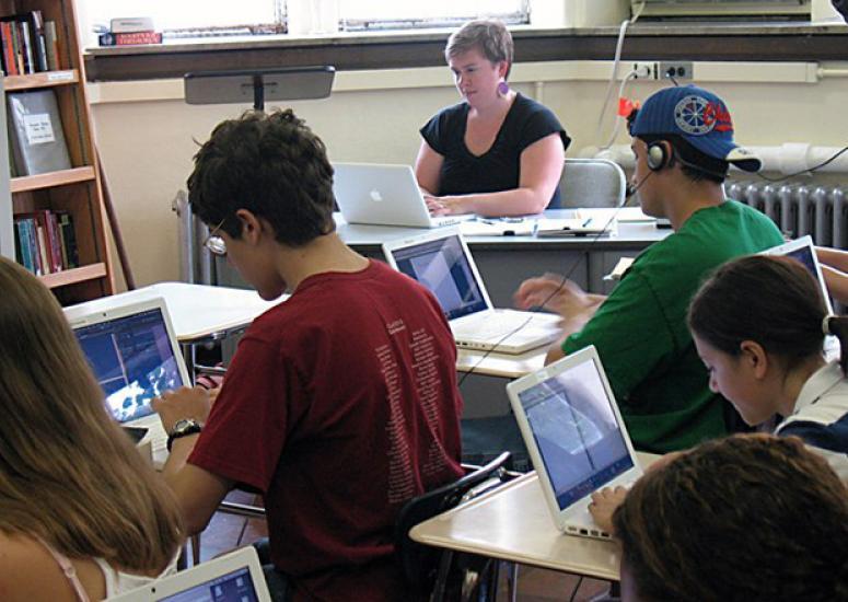 Digital teaching tools: Students using laptops in classroom at University Laboratory High School in Urbana, IL