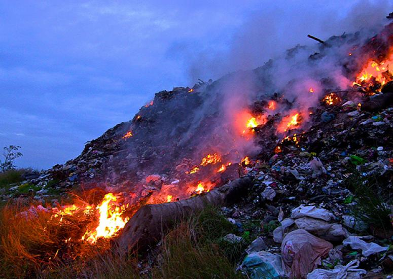 Trash burning and air pollution: open trash fire in General Santos, Philippines