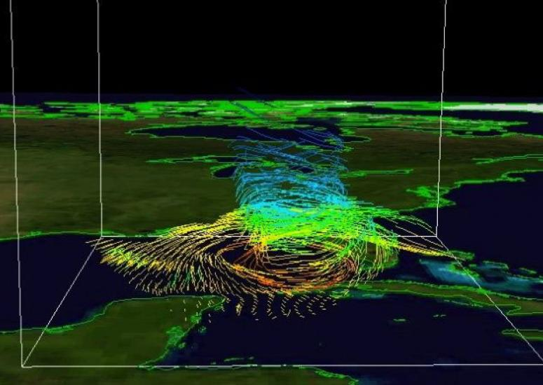 Geosciences computing: This 3-D depiction of the flow in and around 2008's Hurricane Gustav was created using Unidata's Integrated Data Viewer.