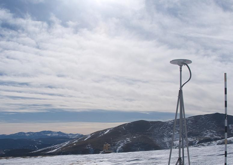 GPS sensor installed on Niwot Ridge, CO, to measure snow depth