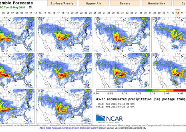 Map showing NCAR ensemble forecast with results from 10 members