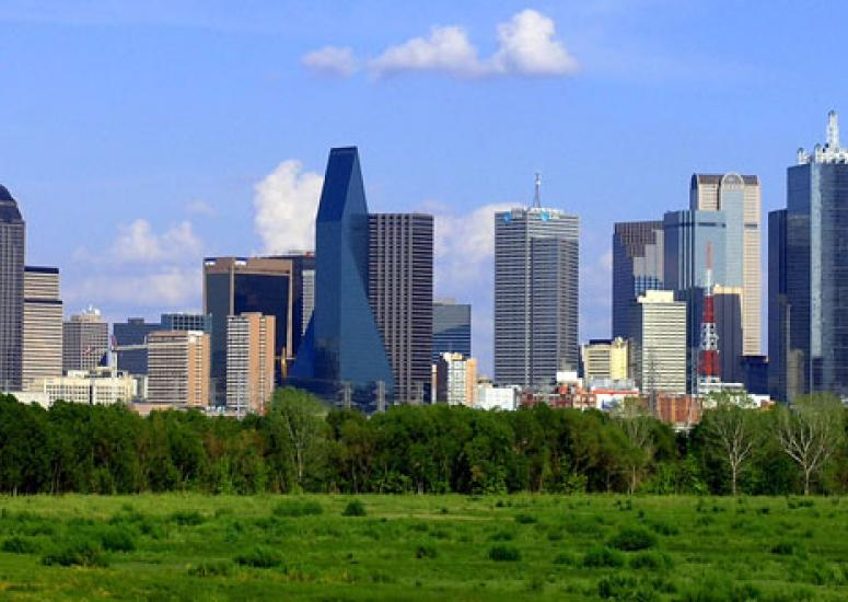 The urban heat island effect can be exacerbated by the smooth surfaces of buildings, such as these in Dallas.
