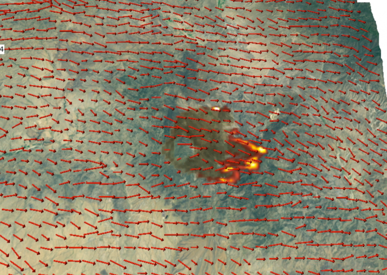 Wildfire prediction system: Still from computer model visualization of wildfire