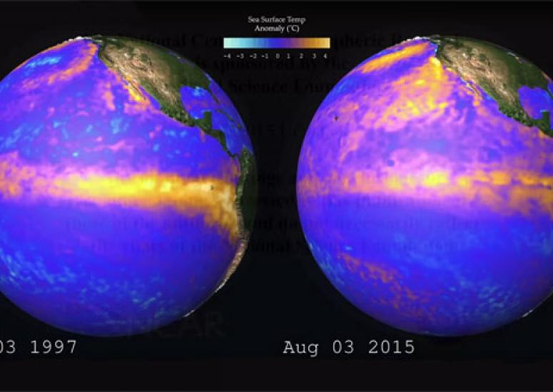 Sea surface temperatures on Aug. 3 in 1997 and 2015