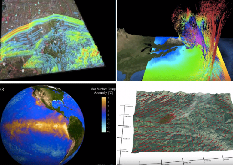 Visualizations of Earth, air, fire, and water