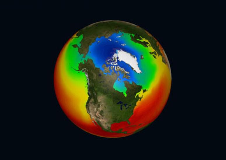possible ice-free future for the Arctic: still image from sea ice visualization