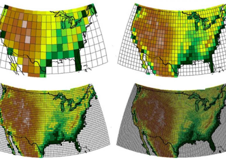 climate modeling 101: four maps show increases in climate model grid resolution