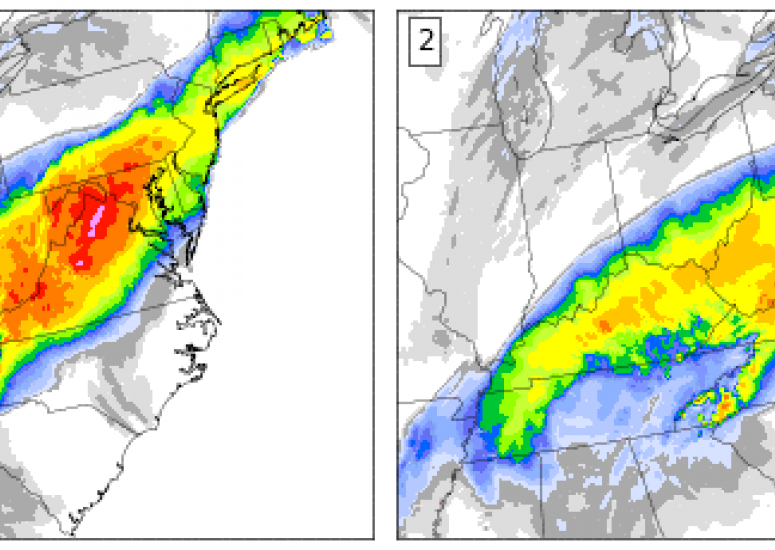 The snow accumulation forecast made by two ensemble members for a January storm