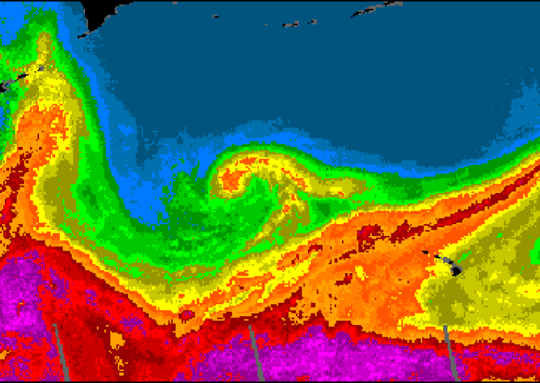 Atmospheric Rivers: ocean map shows Pineapple Express pattern