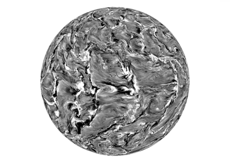 An image from a high-res model of the Sun