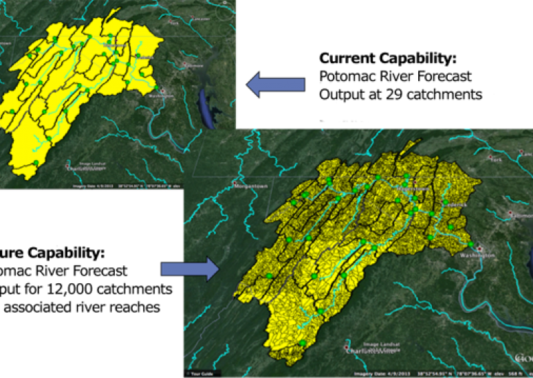 New national water model: Image compares lower resolution of current model to higher resolution of WRF-Hydro
