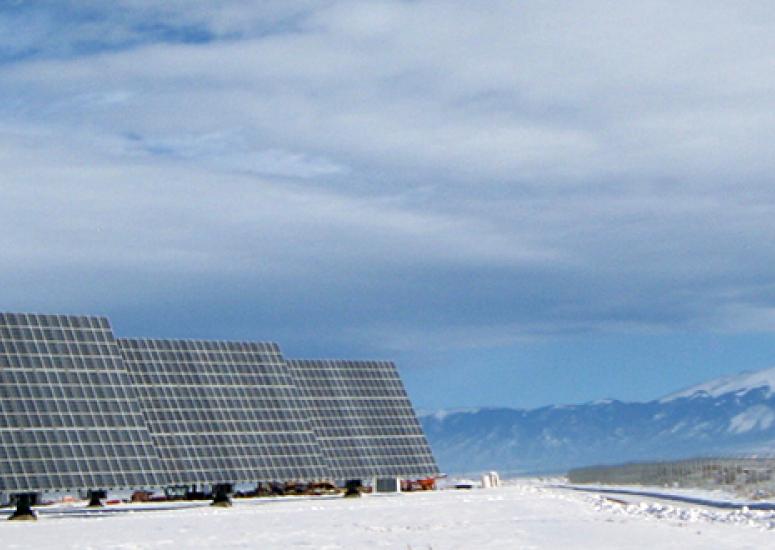 NCAR solar energy Sun4Cast system - photo: solar panels in Colorado's San Luis Valley