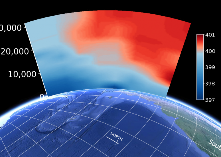 Scientists measure CO2 levels by Antarctica: illustration of CO2 exceeding 400 ppm