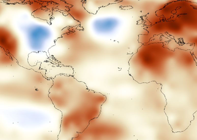 Map of surface temperature departures from average in 2014