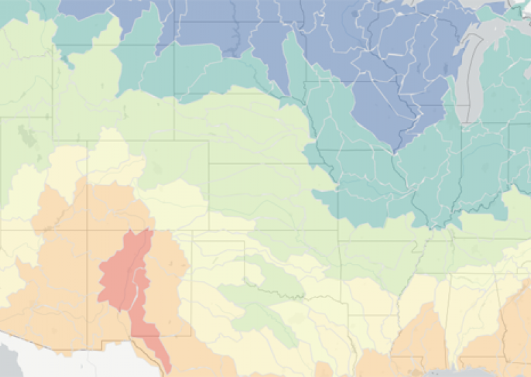 climate forecast map, by watershed