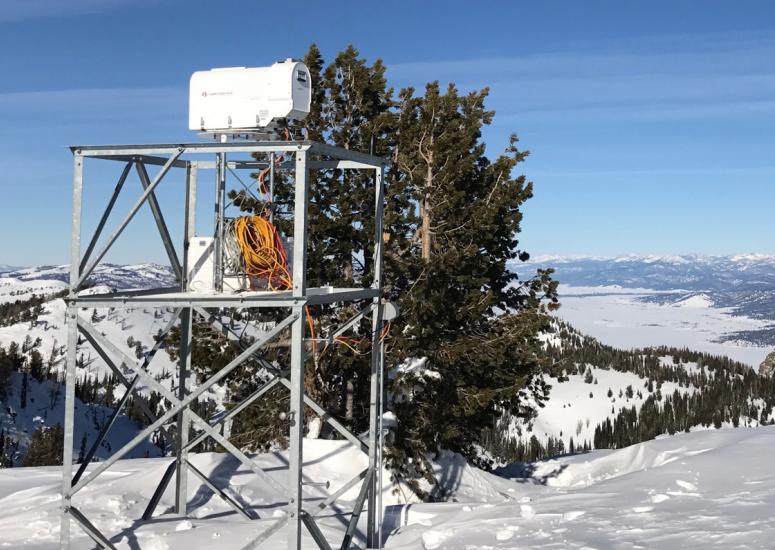 SNOWIE cloud seeding field project: photo of snow gauge in Idaho