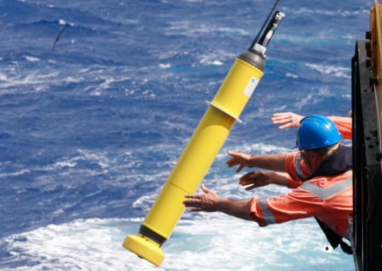 assessing ocean heat: an Argo float being deployed