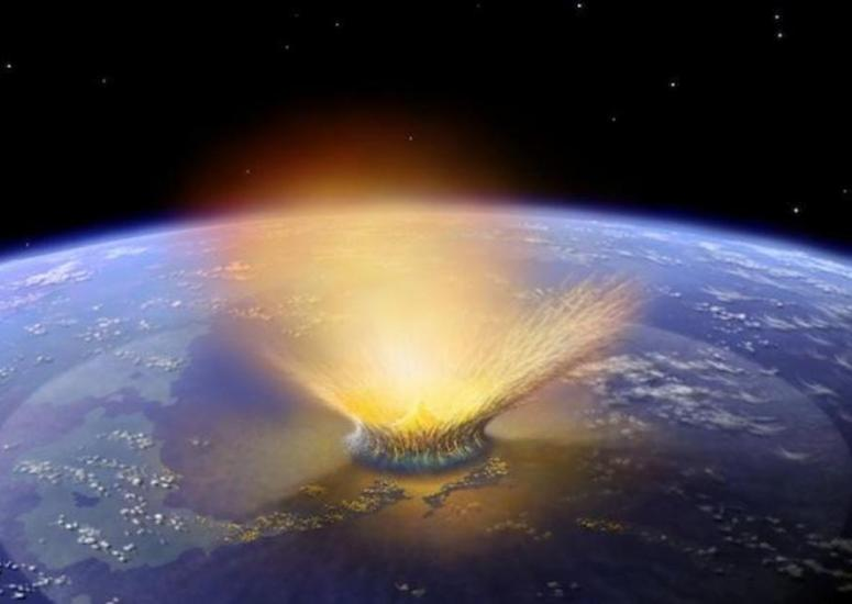 Illustration of asteroid impact