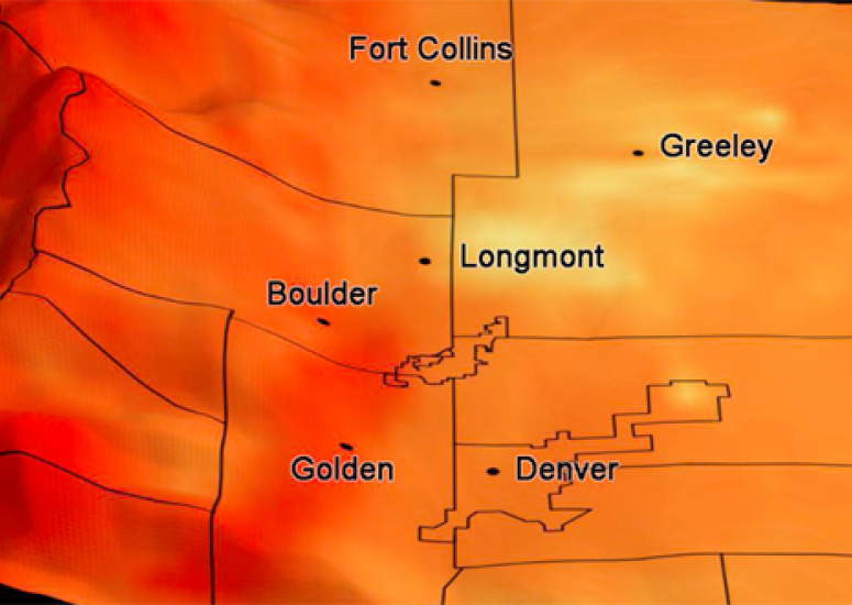 Visualization of ozone on the Front Range