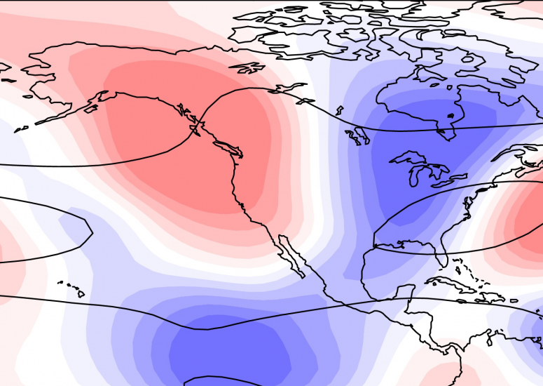 Upper-atmospheric wave pattern linked to California droughts, floods: detail of wavenumber-5 pattern