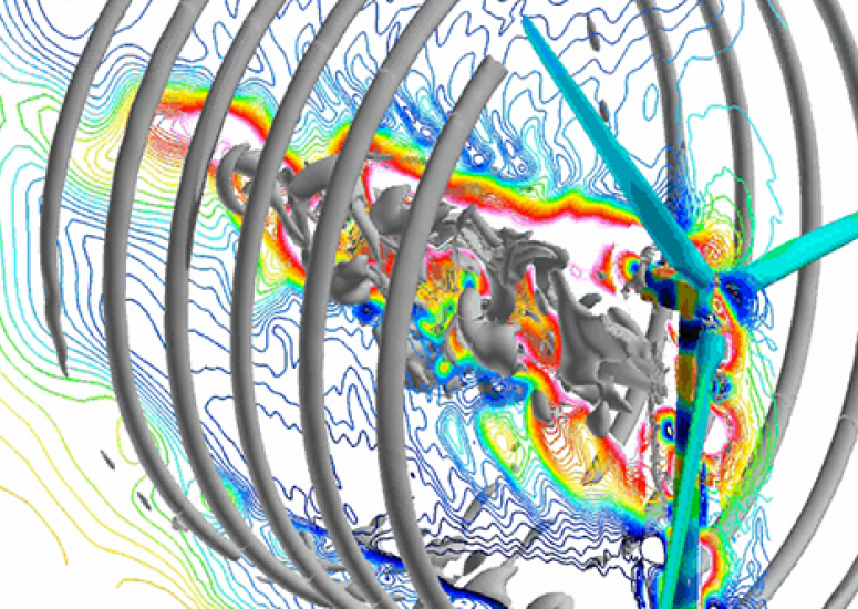 Cheyenne supercomputer: simulation of air flow through wind turbine