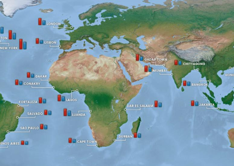 map of expected sea level rise