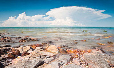 Coastline of northern Australia with storm in distance
